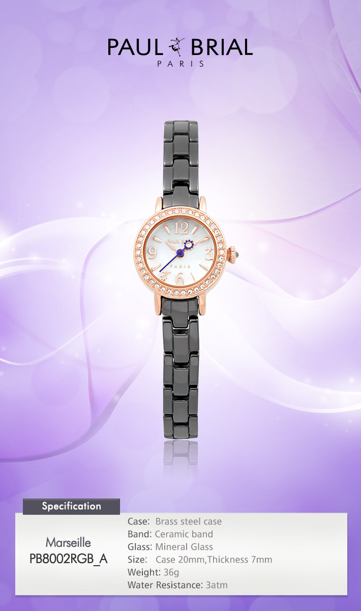 [ PAUL BRIAL ] KOREA MADE HIGH QUALITY LADIES ROSE GOLD BLACK CERAMIC WATCH PB8002RGB_A MARSEILLE