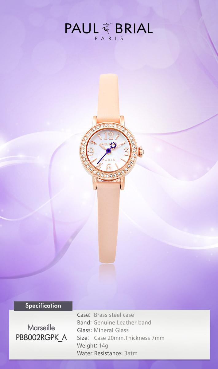 [ PAUL BRIAL ] 大韩民国提出高质量的女士玫瑰金粉色的皮带外观看PB M20/MP30 (M8001A/M8002A) RGPK的马赛