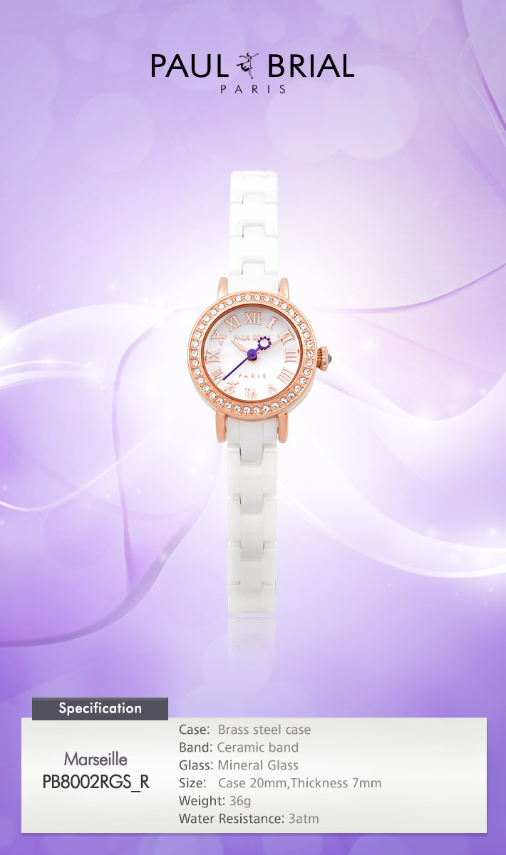 [ PAUL BRIAL ] KOREA MADE HIGH QUALITY LADIES ROSE GOLD WHITE CERAMIC WATCH PB8002RGS_R MARSEILLE
