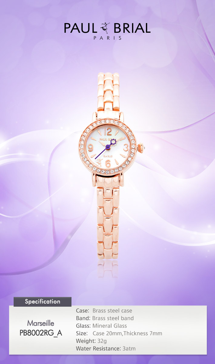 [ PAUL BRIAL ] KOREA MADE HIGH QUALITY LADIES ROSE GOLD METAL BAND WATCH PB8002RG_A MARSEILLE