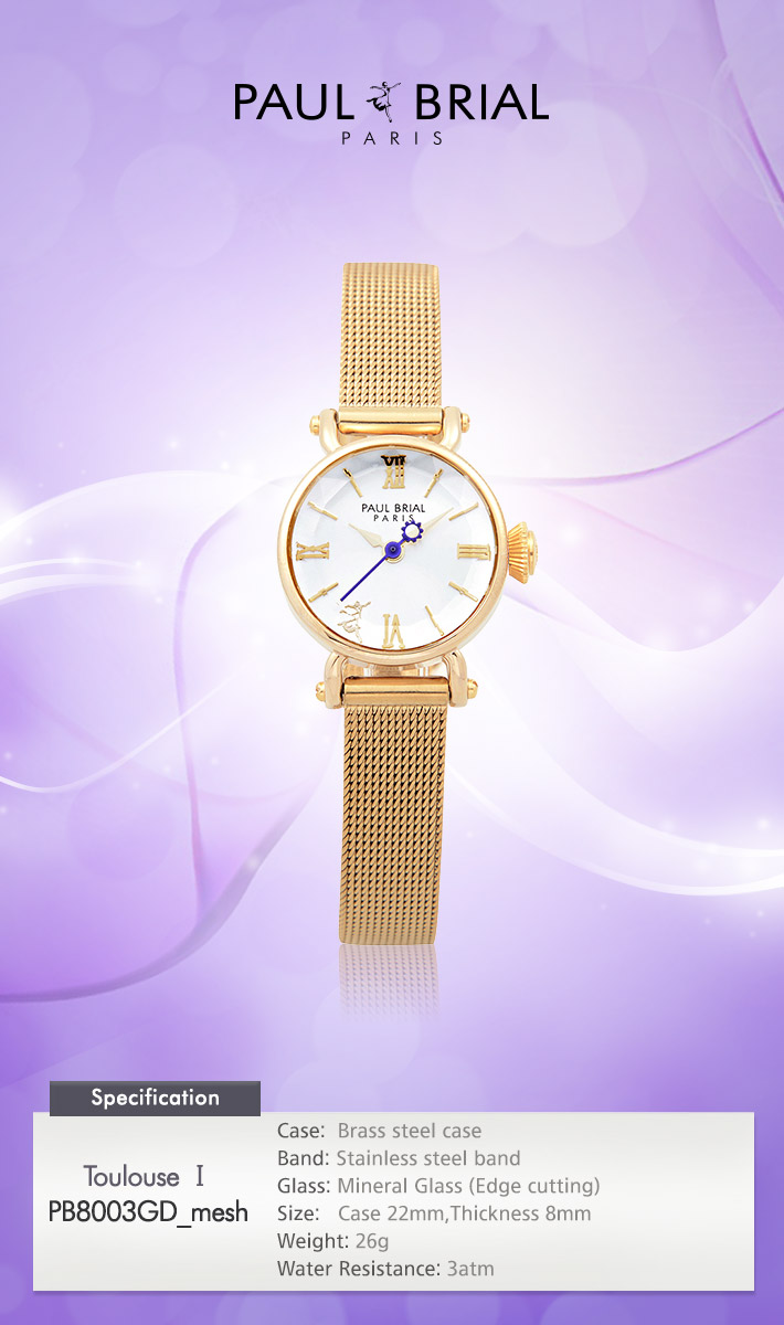 [ PAUL BRIAL ] KOREA MADE HIGH QUALITY LADIES GOLD MESH BAND WATCHPB8003GD_mesh TOULOUSE