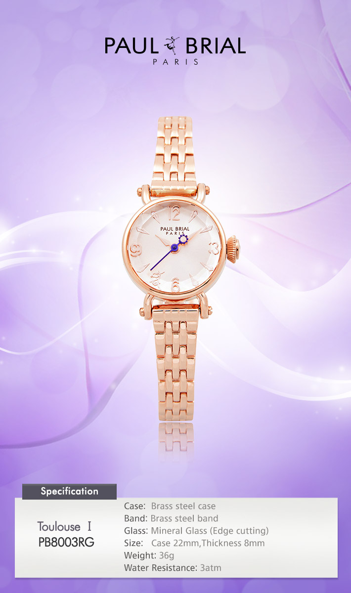 [ PAUL BRIAL ] KOREA MADE HIGH QUALITY LADIES ROSE GOLD METAL BAND WATCH PB8003RG TOULOUSE