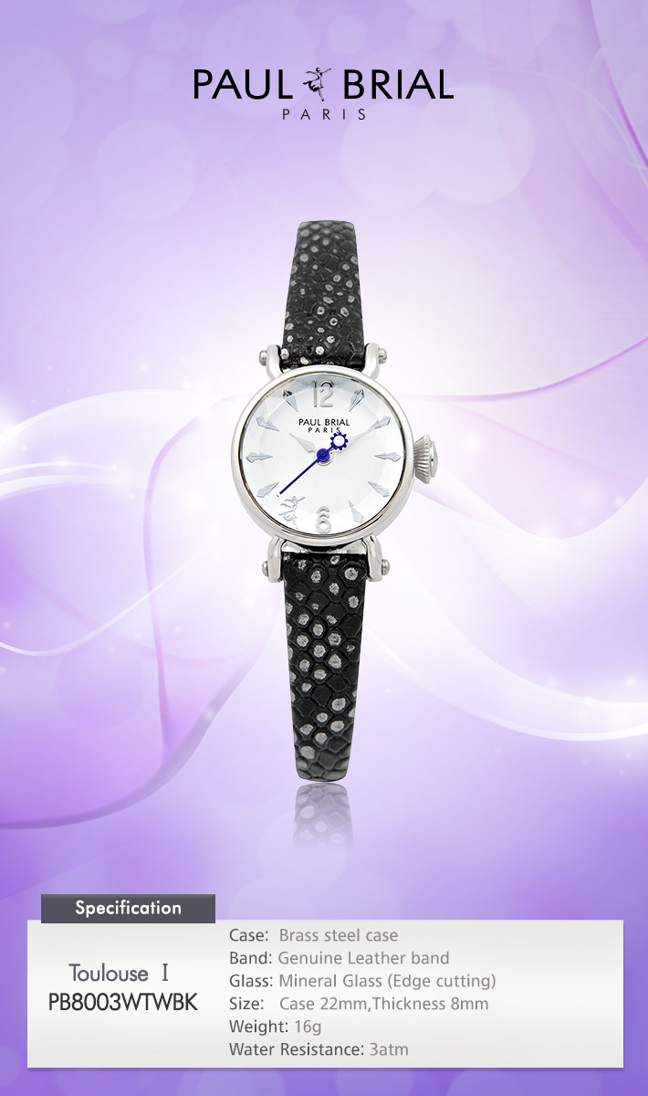 [ PAUL BRIAL ] KOREA MADE HIGH QUALITY LADIES SILVER BLACK LEATHER BAND WATCH PB8003WTWBK TOULOUSE
