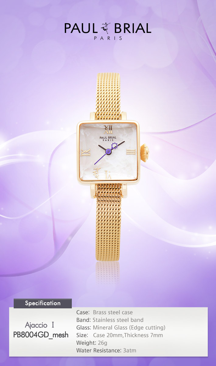 [ PAUL BRIAL ] KOREA MADE HIGH QUALITY LADIES SQUARE GOLD MESH BAND WATCH PB8004GD_mesh AJACCIO