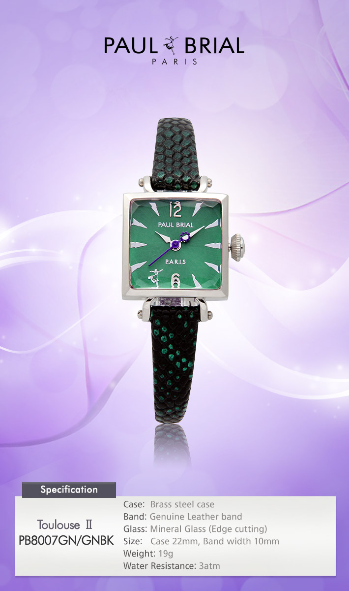 [ PAUL BRIAL ] KOREA MADE HIGH QUALITY LADIES SQUARE SILVER GREEN LEATHER BAND WATCH PB8007GN/GNBK TOULOUSE Ⅱ