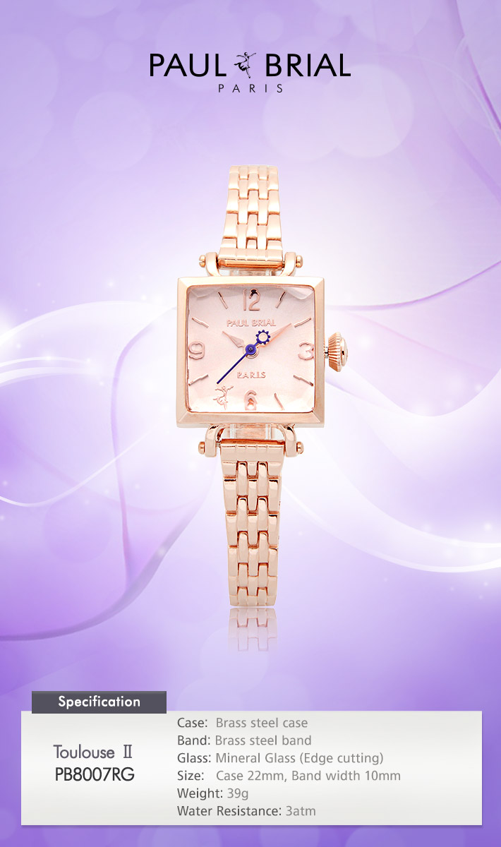 [ PAUL BRIAL ] KOREA MADE HIGH QUALITY LADIES SQUARE ROSE GOLD METAL BAND WATCH PB8007RG TOULOUSE Ⅱ