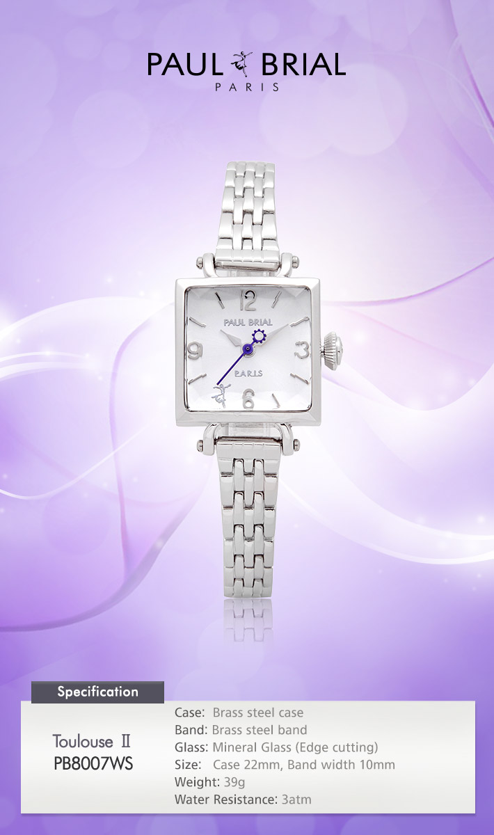 [ PAUL BRIAL ] KOREA MADE HIGH QUALITY LADIES SQUARE SILVER METAL BAND WATCH PB8007WS TOULOUSE Ⅱ