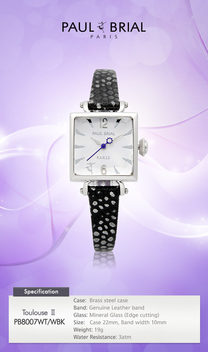 [ PAUL BRIAL ] KOREA MADE HIGH QUALITY LADIES SQUARE SILVER BLACK LEATHER BAND WATCH PB8007WT/WBK TOULOUSE Ⅱ
