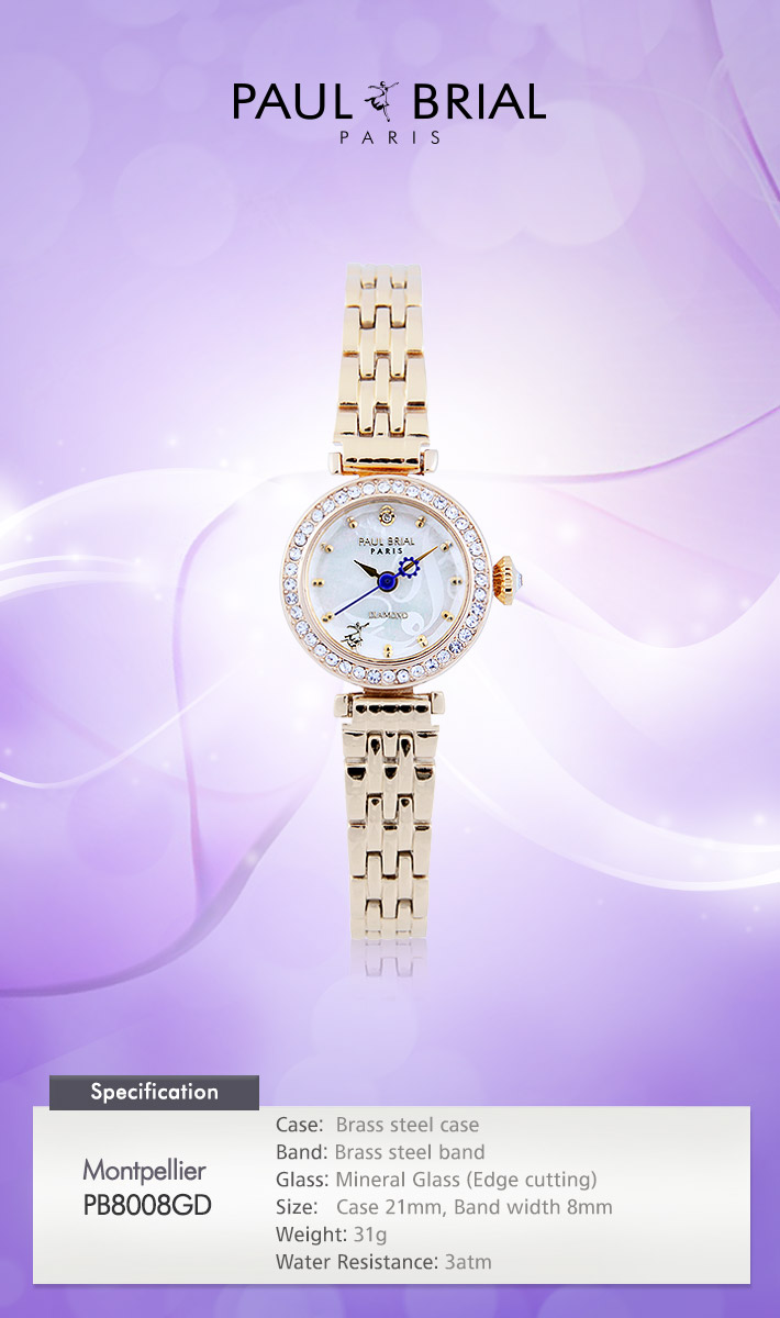 [ PAUL BRIAL ] KOREA MADE HIGH QUALITY LADIES GOLD METAL BAND DIAMOND WATCH PB8008GD MONTPELLIER