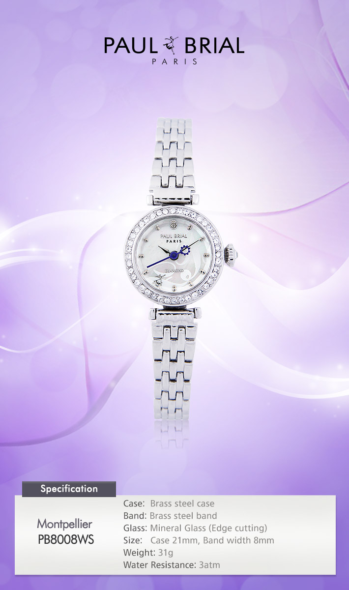 [ PAUL BRIAL ] KOREA MADE HIGH QUALITY LADIES SILVER METAL BAND DIAMOND WATCH PB8008WS MONTPELLIER