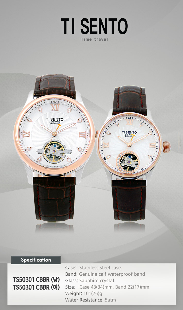 [ TISENTO ] KOREA MADE HIGH QUALITY AUTOMATIC MECHANICAL GENUINE CALF WATERPROOF LEATHER STRAP WATCH TS 50301 CBBRL
