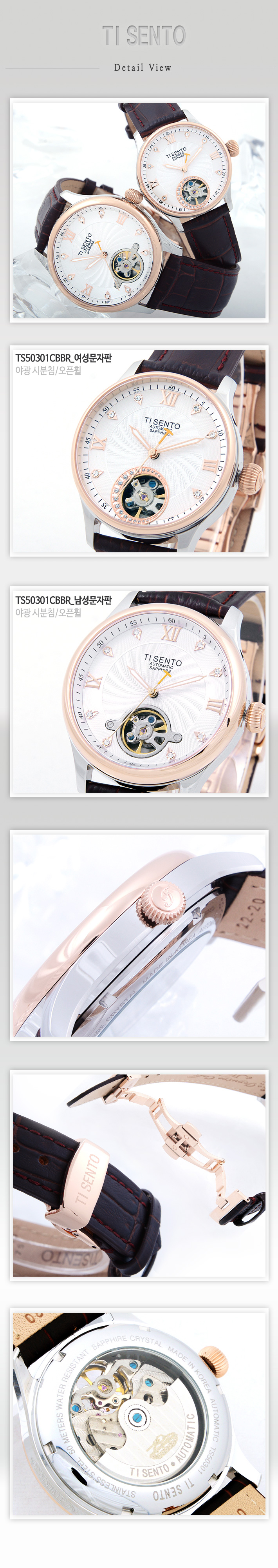 [ TISENTO ] KOREA MADE HIGH QUALITY AUTOMATIC MECHANICAL GENUINE CALF WATERPROOF LEATHER STRAP WATCH TS 50301 CBBR M
